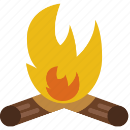 campfire, camping, fire, outdoor, survival, wood icon