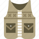 camping, clothes, fishing, outdoor, survival, vest icon