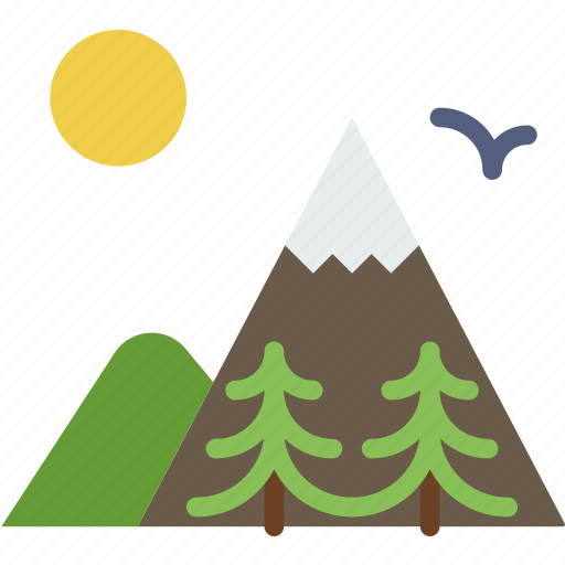 camping, mountainside, outdoor, sun, survival, trees icon