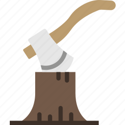 axe, camping, cutting, log, outdoor, survival, wood icon