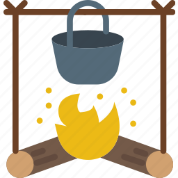 camping, fire, food, outdoor, stove, survival icon