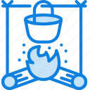 outdoor, camping, fire, stove, food, survival icon