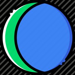climate, crescent, moon, precipitation, waning, weather icon
