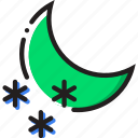 climate, nighttime, precipitation, snow, weather icon