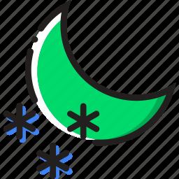 climate, nighttime, precipitation, snow, weather icon