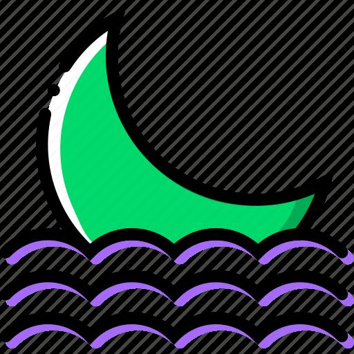 climate, moon, precipitation, seaside, settings, weather icon