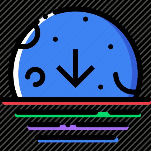 climate, descending, moon, precipitation, weather icon