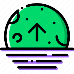 ascending, climate, moon, precipitation, weather icon