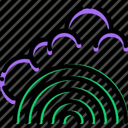 climate, fresh, precipitation, rainbow, weather icon
