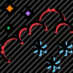 climate, night, precipitation, snow, weather icon