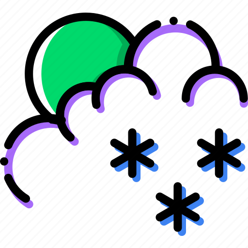 climate, morning, precipitation, snow, weather icon