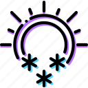 climate, precipitation, snowing, sunny, weather icon