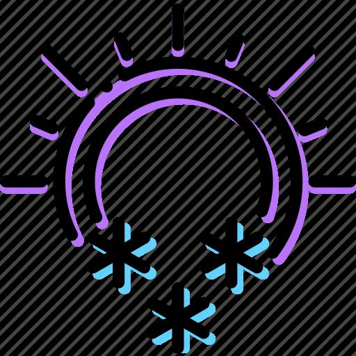 climate, precipitation, snowing, sunny, weather icon