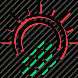 climate, precipitation, precipitations, sun, weather, with icon