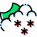 climate, night, precipitation, snowy, weather icon