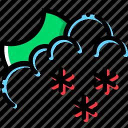 climate, night, precipitation, snowy, weather icon