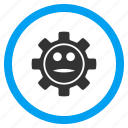 face, gear, industry, options, service, smile, technology icon