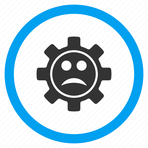 cog, face, gear, mechanical, sad, technology, wheel icon