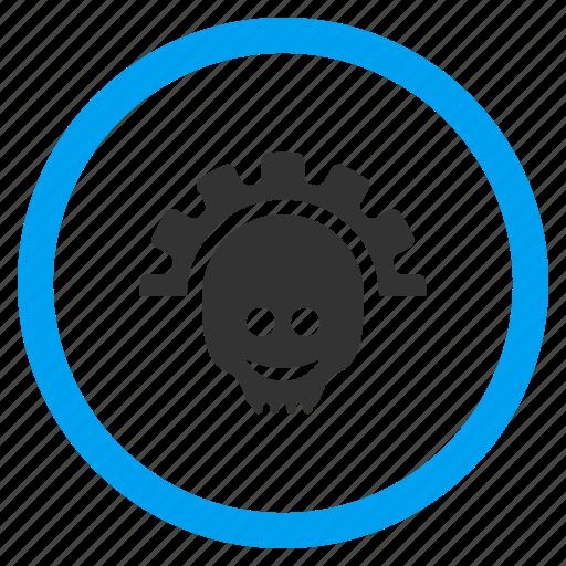 death smile, gear, machine, mechanical, skull, technology, wheel icon
