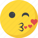 emoji, feeling loved, kissing emoji, romantic, smiley face icon