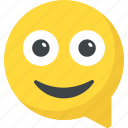 chat bubble, chat smiley, chatting, emoticon, happy smiley icon