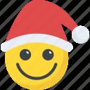 cheerful, emoji, happy smiley, santa claus emoticon, xmas icon