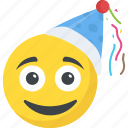 birthday emoji, celebration, happy face, party emoticon, smiley icon