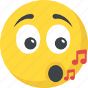 music emoji, music note, singing, smiley, whistle icon