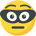 bandit face, burglar emoji, emoji, emoticon, thief