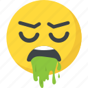emoticon, nauseated, puke, throw up, vomiting face icon