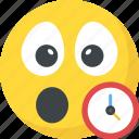 clock emoji, emoticon, reminder, surprised, waiting icon