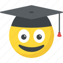 academic cap, graduation emoji, mortarboard, smiley, student icon