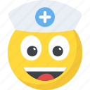 doctor emoji, emoji, happy face, nurse emoticon, smiley icon