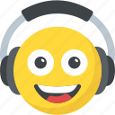cheerful, dj emoticon, earphones, headphones emoji, smiling icon