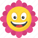 expressions, flower, happy face, laughing, sunflower smiley icon