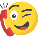 calling, emoji, emoticon, helpline, receiver icon