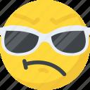 cool emoji, emoji, emoticon, happy face, sunglasses emoji icon
