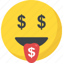greedy, happy face, money face, money mouth emoji, rich icon