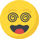 confused, dizzy emoji, emoticon, silly face, smiley icon
