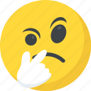 emoji, emoticon, pondering, suspecting, thinking face icon