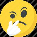 emoji, emoticon, pondering, suspecting, thinking face
