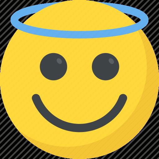 angel emoji, emoji, emoticon, halo emoji, smiling face icon