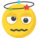 dizzy emoji, drunk emoji, exhausted, seeing stars, tired icon