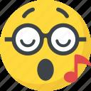 music emoji, music note, singing, smiley, whistle icon