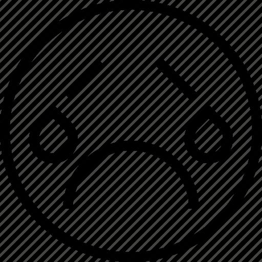 avatar, crying, face, sad, smiley icon