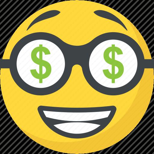 Dollar eyes emoji, greedy, happy face, money face, rich icon |Smiley Face Holding Money