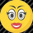 adorable, emoji, emoticon, in love, makeup emoticon icon