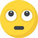 annoyed, bored face, emoji, rolling eyes, tired face icon