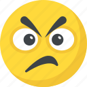 angry, annoyed, emoji, sad smiley, worried icon