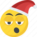 dizzy, emoji, santa claus emoticon, sleepy, smiley icon